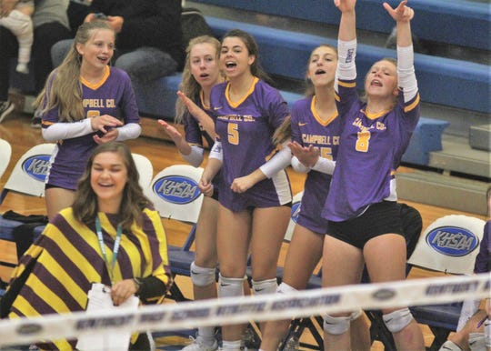 Campbell County players cheer a point during Campbell County's 3-0 sweep of Central Hardin in the first round of the KHSAA State Volleyball Tournament Oct. 26, 2018 at Valley High School, Louisville KY.