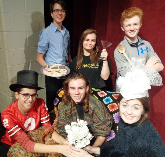 """Members of the Loveland High School cast of """"The Drowsy Chaperone"""" include, front: Daniel Eilert, Luke Rohling, Anna Colletto. Back: Andrew Hoffman, Lillian DeNellia and Aidan McCracken. Show dates are Nov. 7-10 in the high school auditorium."""