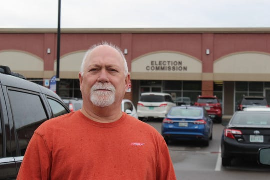 Michael Scott of Clarksville after casting his ballot on Thursday, which he says is the right and duty of every American.