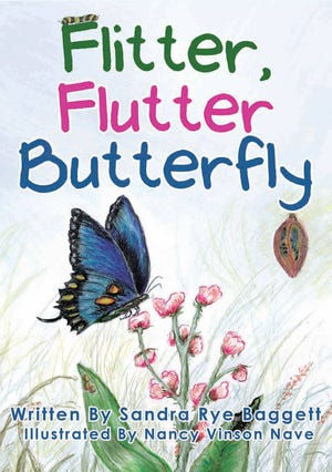 """The cover of Sandra Baggett's book """"Flitter, Flutter Butterfly"""" features artwork from her friend Nancy Nave."""