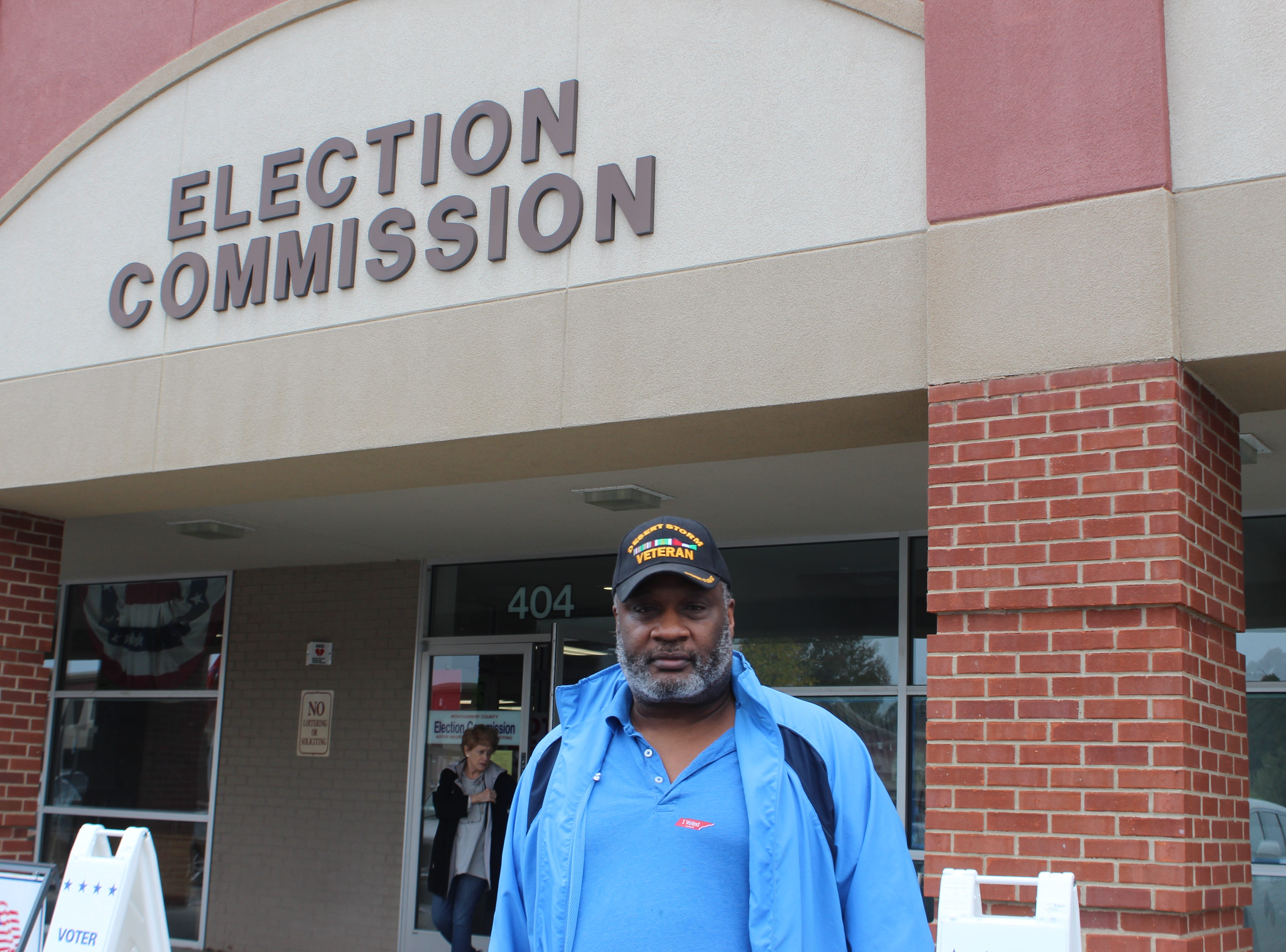 Veteran Greg Joyner of Clarksville leaving the Election Commission office after casting his early ballot.