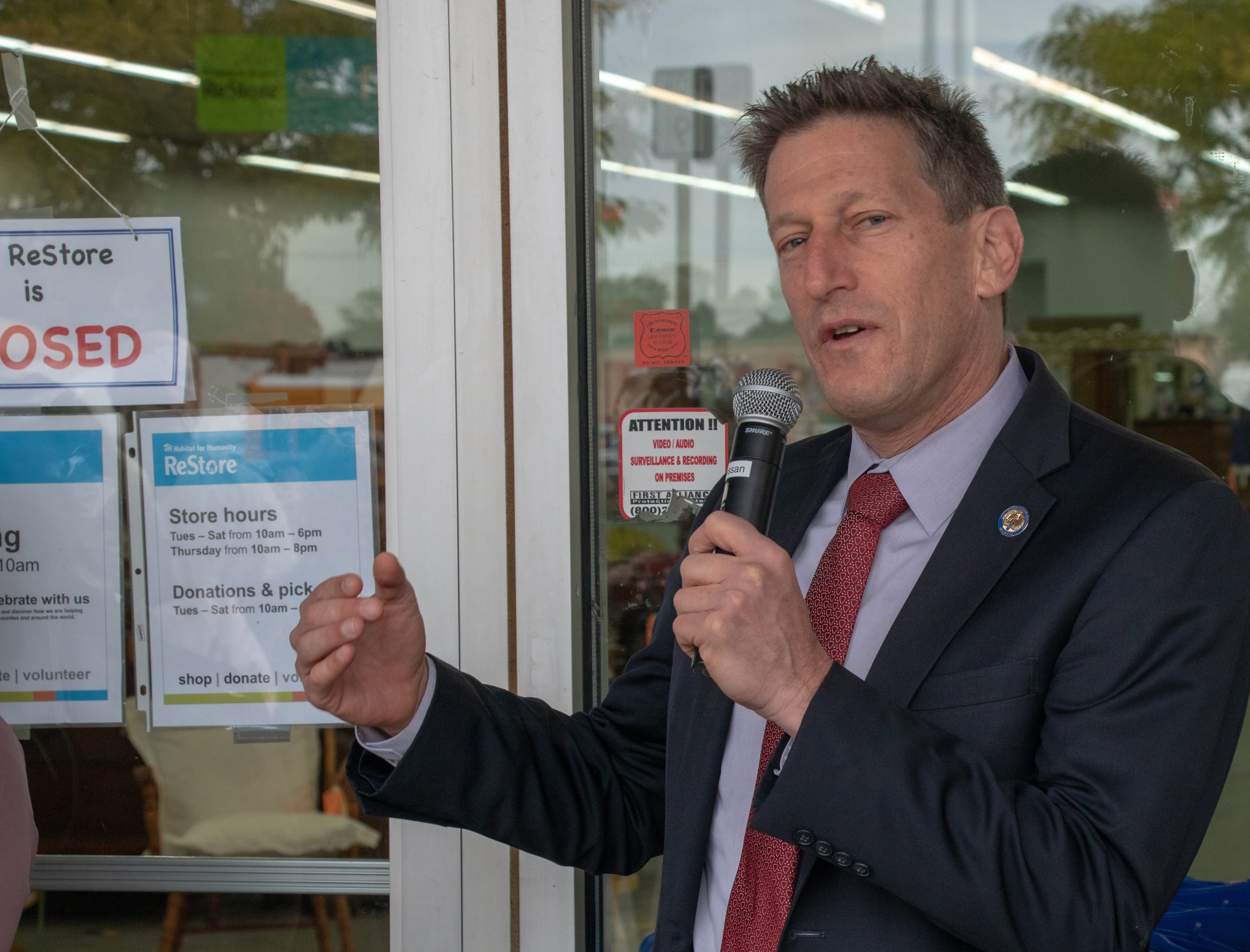 Assemblyman Andrew Zwicker talks to the crowd at the opening of the new Habitat ReStore in Manville on Oct. 26 at 10 a.m.