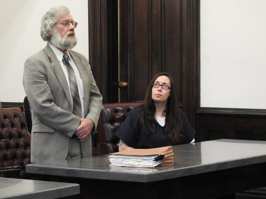 Attorney David Blackwell addresses Coshocton County Common Pleas Court on behalf of his client Brandi Wright who was sentenced to four years in prison on several drug charges.