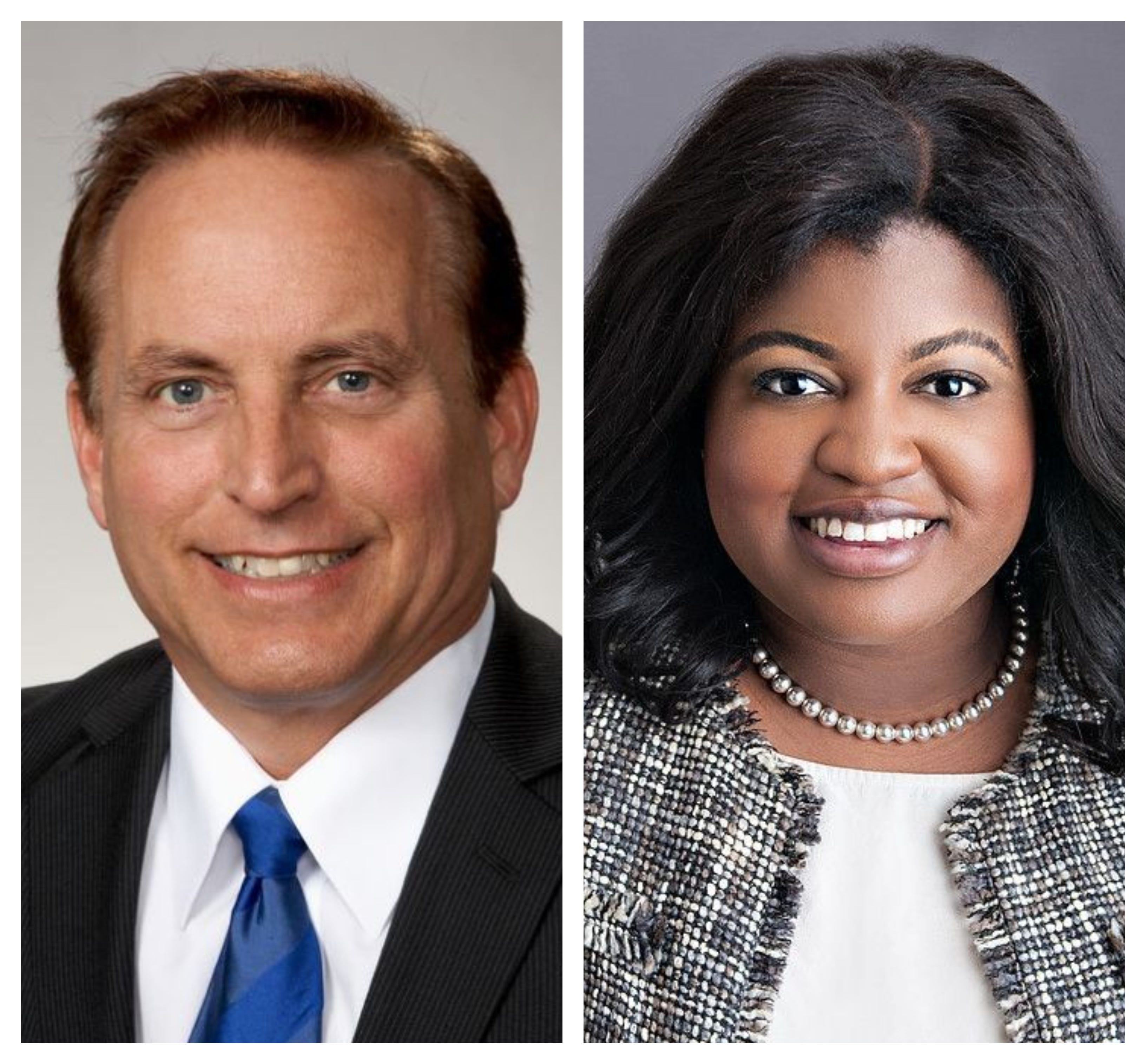 Secretary of State candidates in 2018 race: Paul Pate, left, and Deidre DeJear.