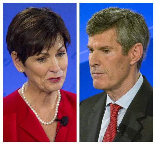 Iowa Gov. Kim Reynolds, left, and Fred Hubbell.