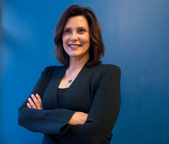 Gubernatorial candidate and democrat Gretchen Whitmer poses for a portrait  on Tuesday, April 10, 2018 at the Detroit Leadership Academy in Detroit.