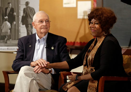 Ruby Bridges, right, who integrated Louisiana schools in 1960 under escort from U.S. Marshals, meets with Charles Burks, 91, who was one of those marshals at the Indianapolis Children's Museum in Indianapolis, Thursday, Sept. 5, 2013.