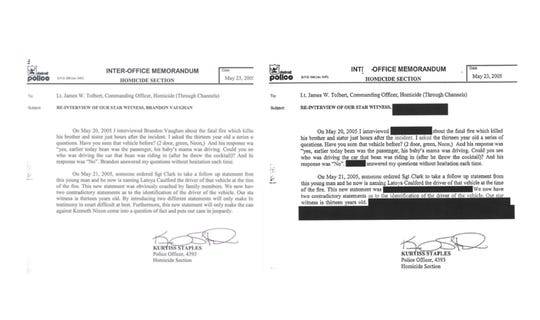 MJPís copy of the Staples memo from the Detroit Police (right) is heavily redacted. The words ìobviously coached by family membersî were omitted, as were other statements where Staples raises doubt about Brandon Vaughnís versions of events.