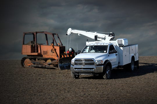 2018 Ram 5500 Chassis Cab equipped with a crane