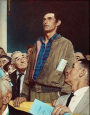 """Norman Rockwell's """"Freedom of Speech"""" is part of the """"Enduring Ideals: Rockwell, Roosevelt & the Four Freedoms"""" exhibit at the Henry Ford Museum of American Innovation."""