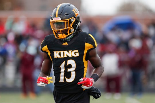 Detroit King receiver RaShawn Williams during the first half against River Rouge at King High School in Detroit, Friday, Oct. 26, 2018.