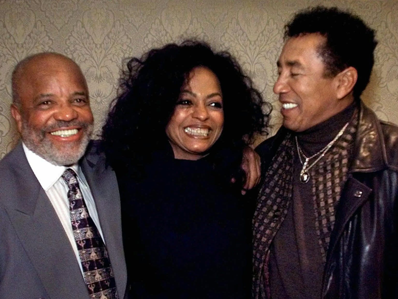 "Berry Gordy, left, Diana Ross, center, and Smokey Robinson get together in Pasadena, California on Jan. 15, 1998 to promote a four-hour primetime special ""Motown 40:The Music is Forever"" on ABC.  Ross hosted the special, which celebrated the 40th anniversary of the record label founded by Gordy."