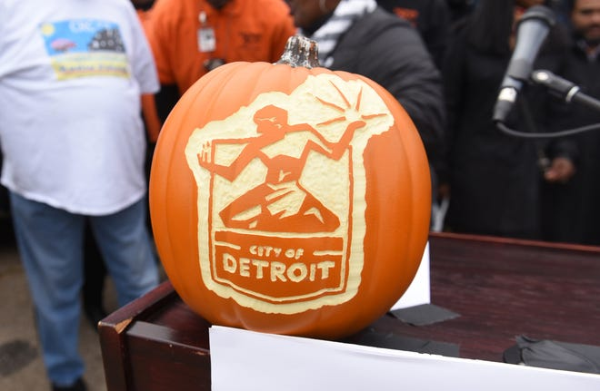 A carved pumpkin as seen as the City of Detroit announced their new Halloween in the D celebration in Detroit on Friday October 26, 2018. Max Ortiz, The Detroit News