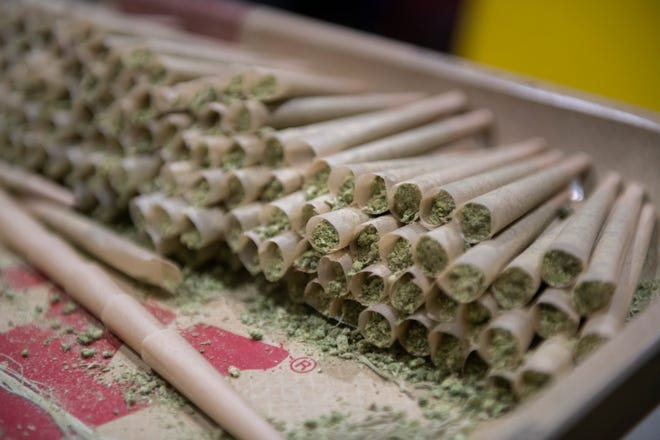 Pre-rolled marijuana joints are among the products at The Reef marijuana dispensary.
