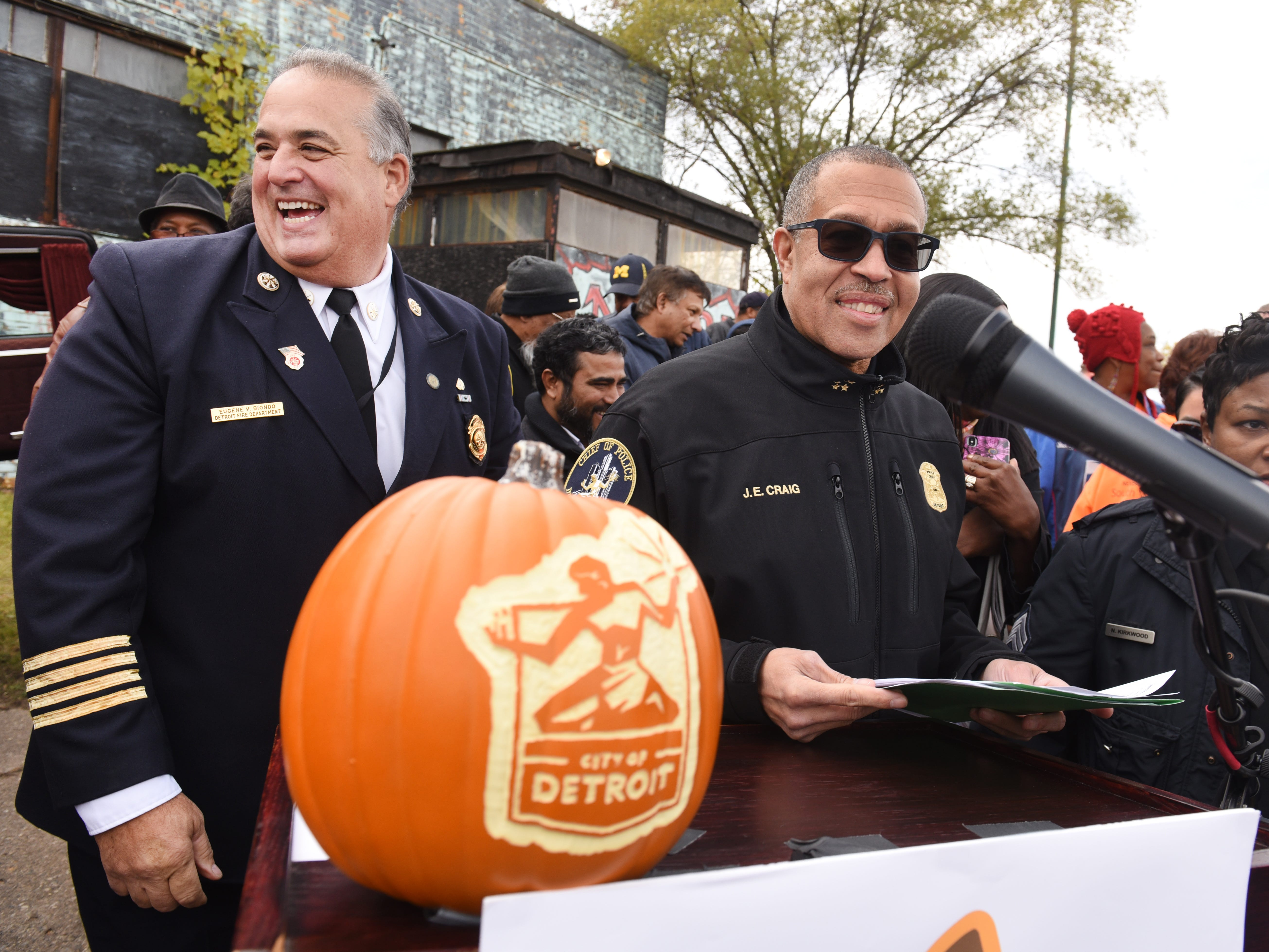 "Detroit Police Chief James Craig, right, along with Gene Biondo, deputy chief, Detroit Fire Department operations, outside the11th precinct ""Haunted House"" as they announce the city's new Halloween in the D celebration in Detroit on Friday, Oct. 26, 2018."