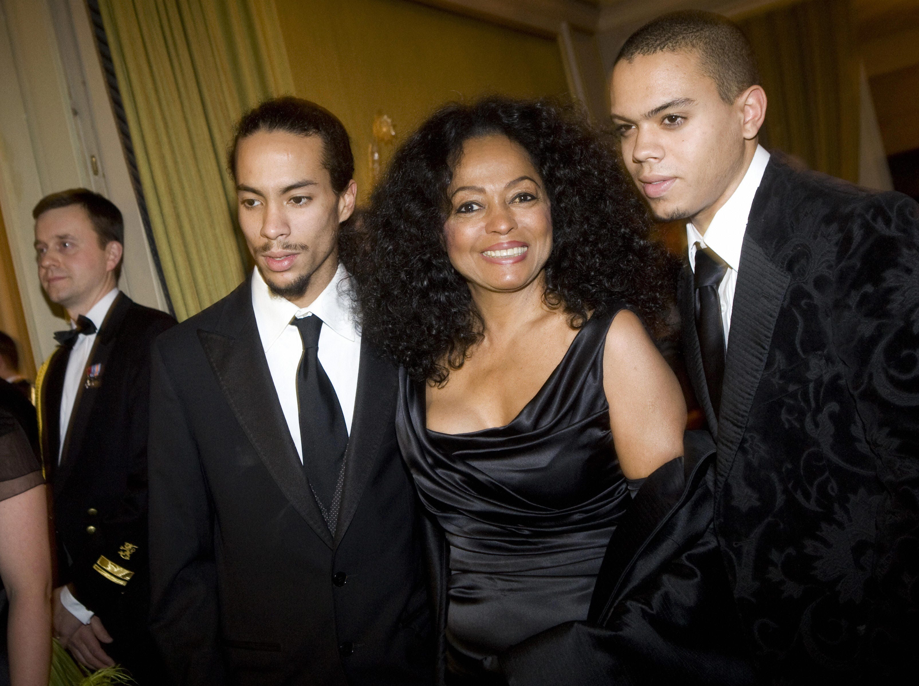 Diana Ross and her sons Ross Arne Naess and Evan Ross arrive for the Norwegian Nobel Committee's Banquet in Oslo on Dec. 10, 2008. Both are the sons of Arne Naess Jr.