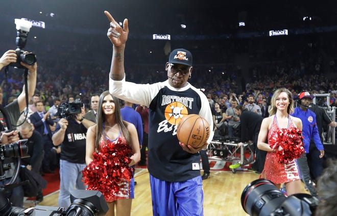 Dennis Rodman delivered the game ball for the last Pistons game at The Palace two seasons ago.