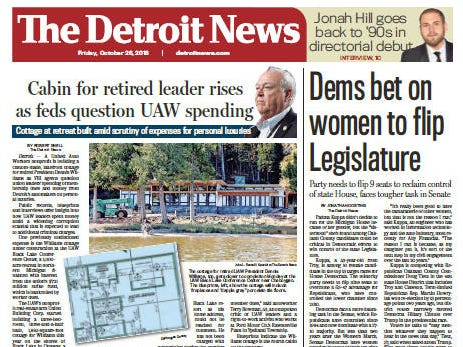 The front page of The Detroit News on October 26, 2018.