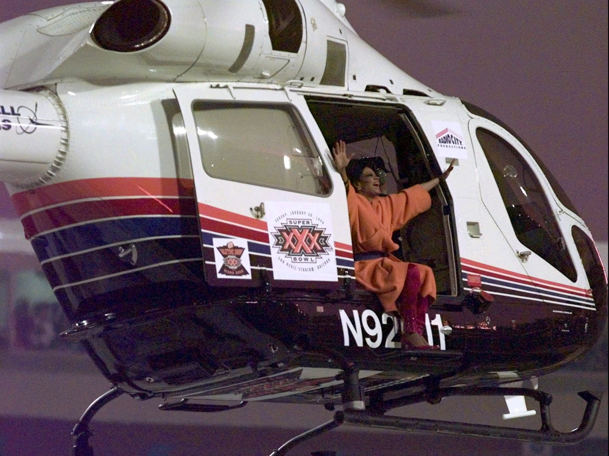 "The Super Bowl show ended with Ross singing ""Take Me Higher"" from her 1995  studio album of the same name. With a final wave, she made her grand exit from the halftime show via helicopter."