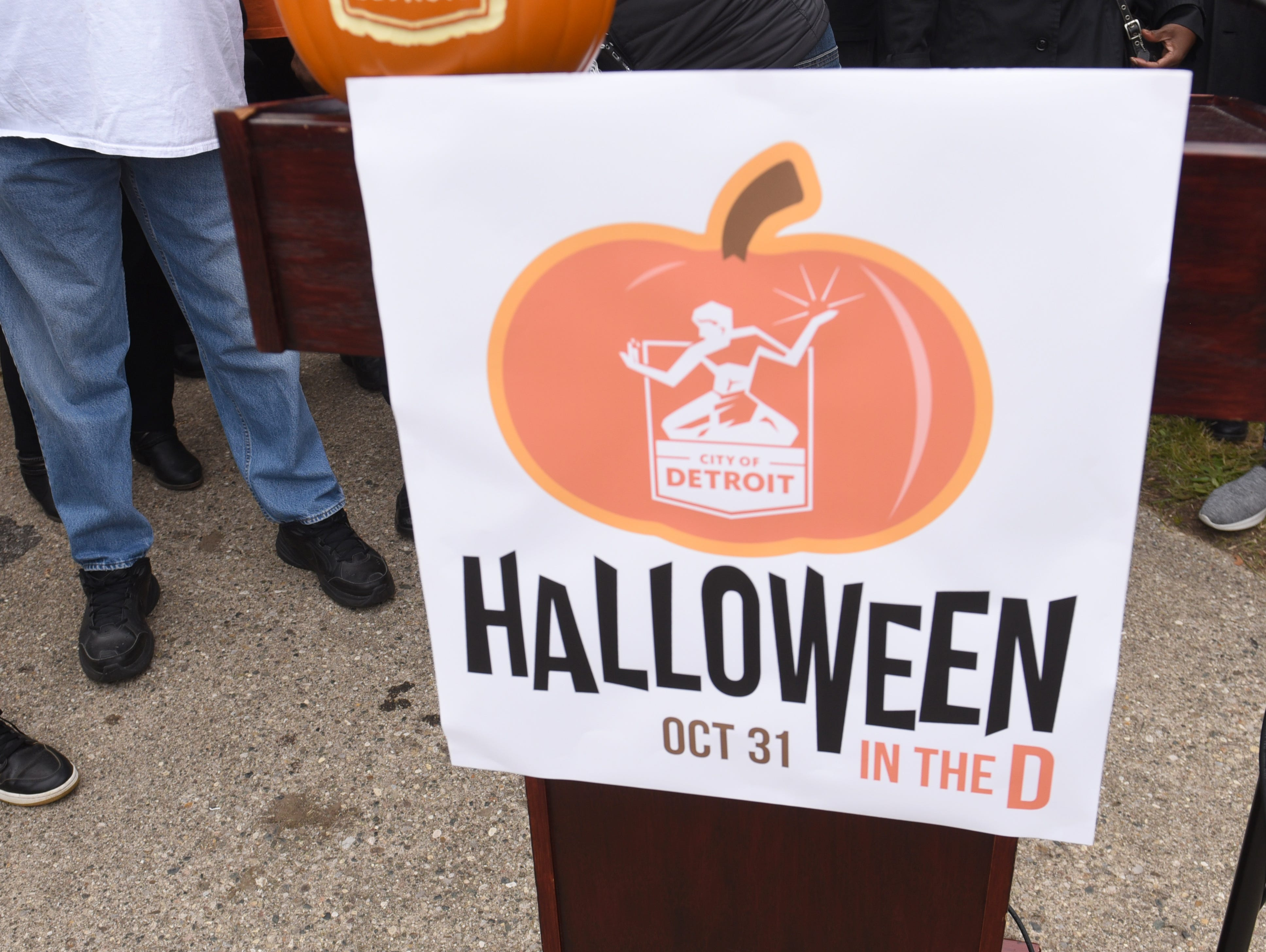 Signage for the city's new Halloween in the D celebration.