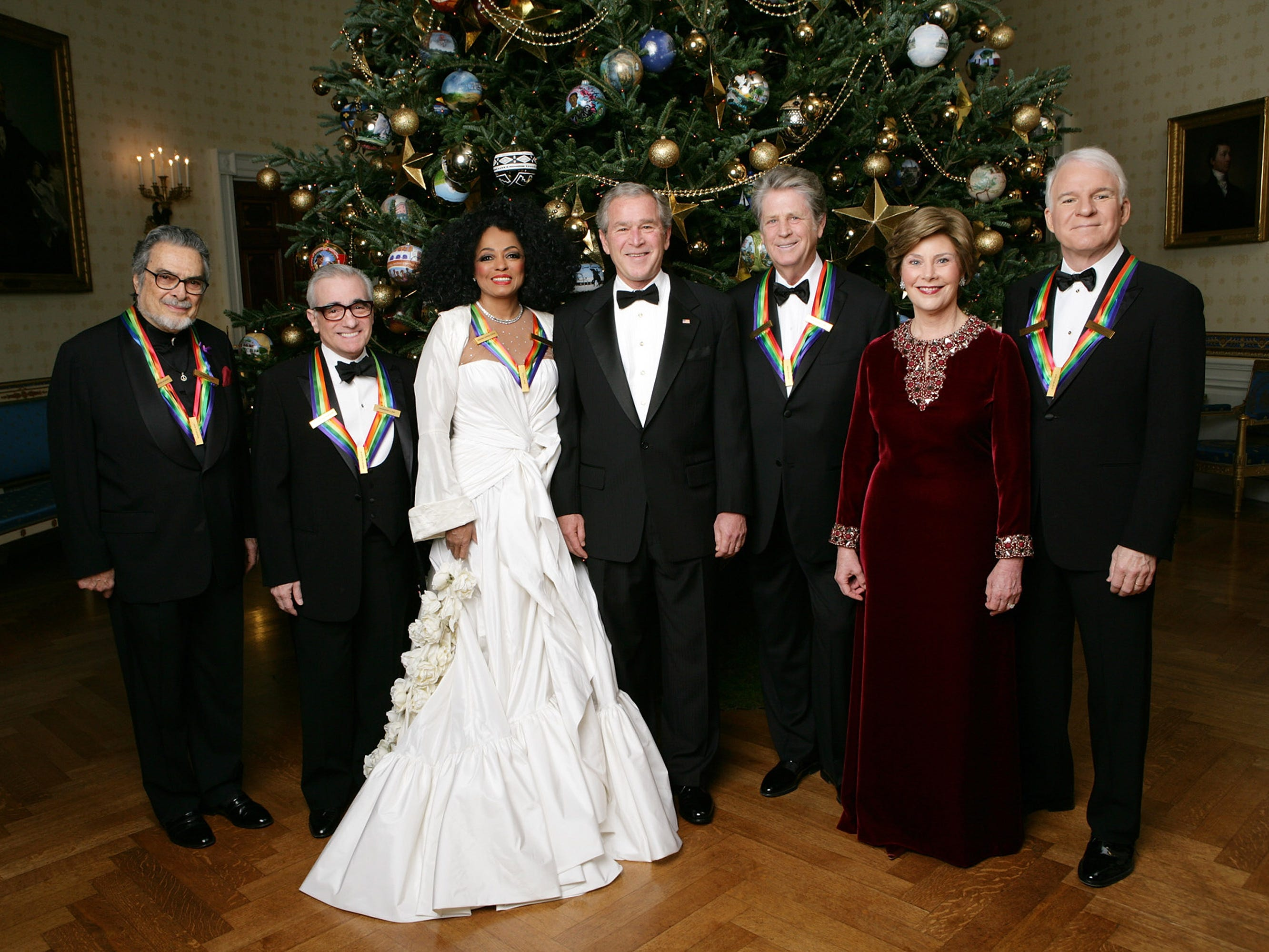 President George W. Bush and first lady Laura Bush pose in the White House with the Kennedy Center Honorees for 2007, from left:  Leon Fleisher, Martin Scorsese, Diana Ross, Brian Wilson and Steve Martin, Dec. 2, 2007.