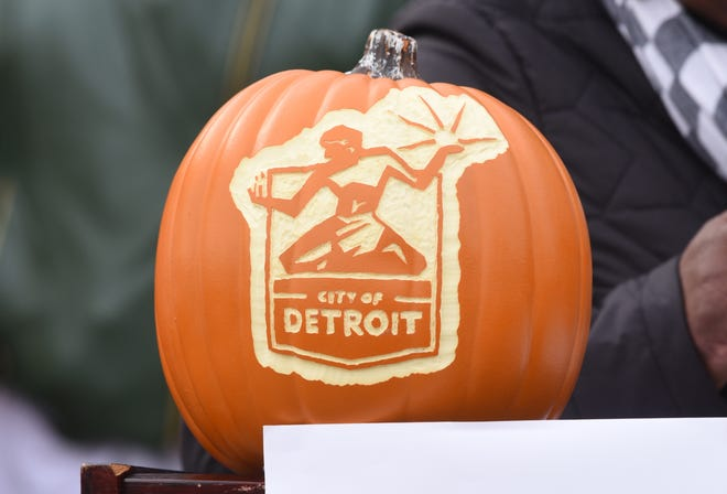 A carved pumpkin as seen as the City of Detroit announced their new Halloween in the D celebration in Detroit on Friday October 26, 2018. 