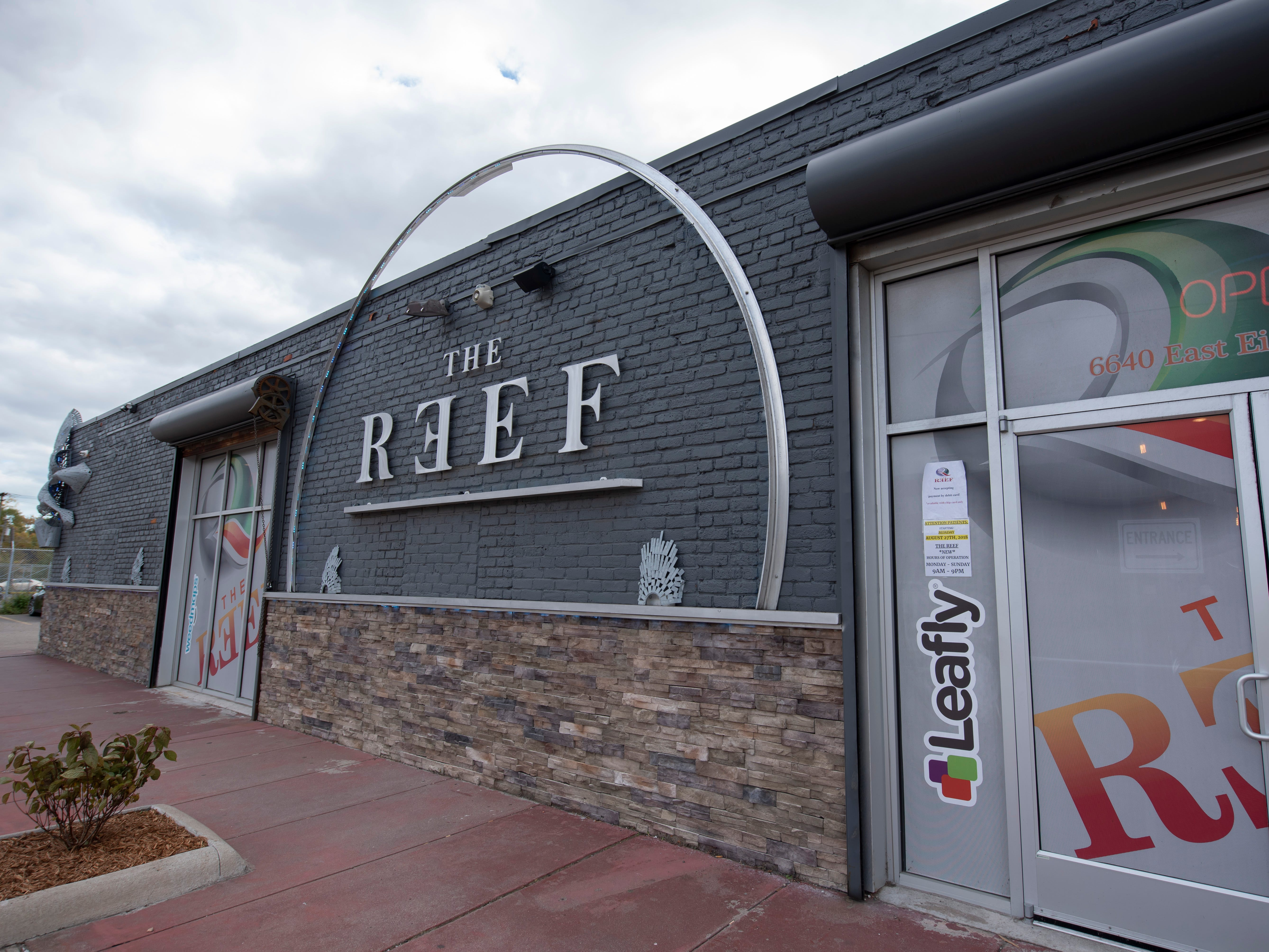 An exterior view of The Reef's marijuana dispensary at 6640 EightMile in Detroit.