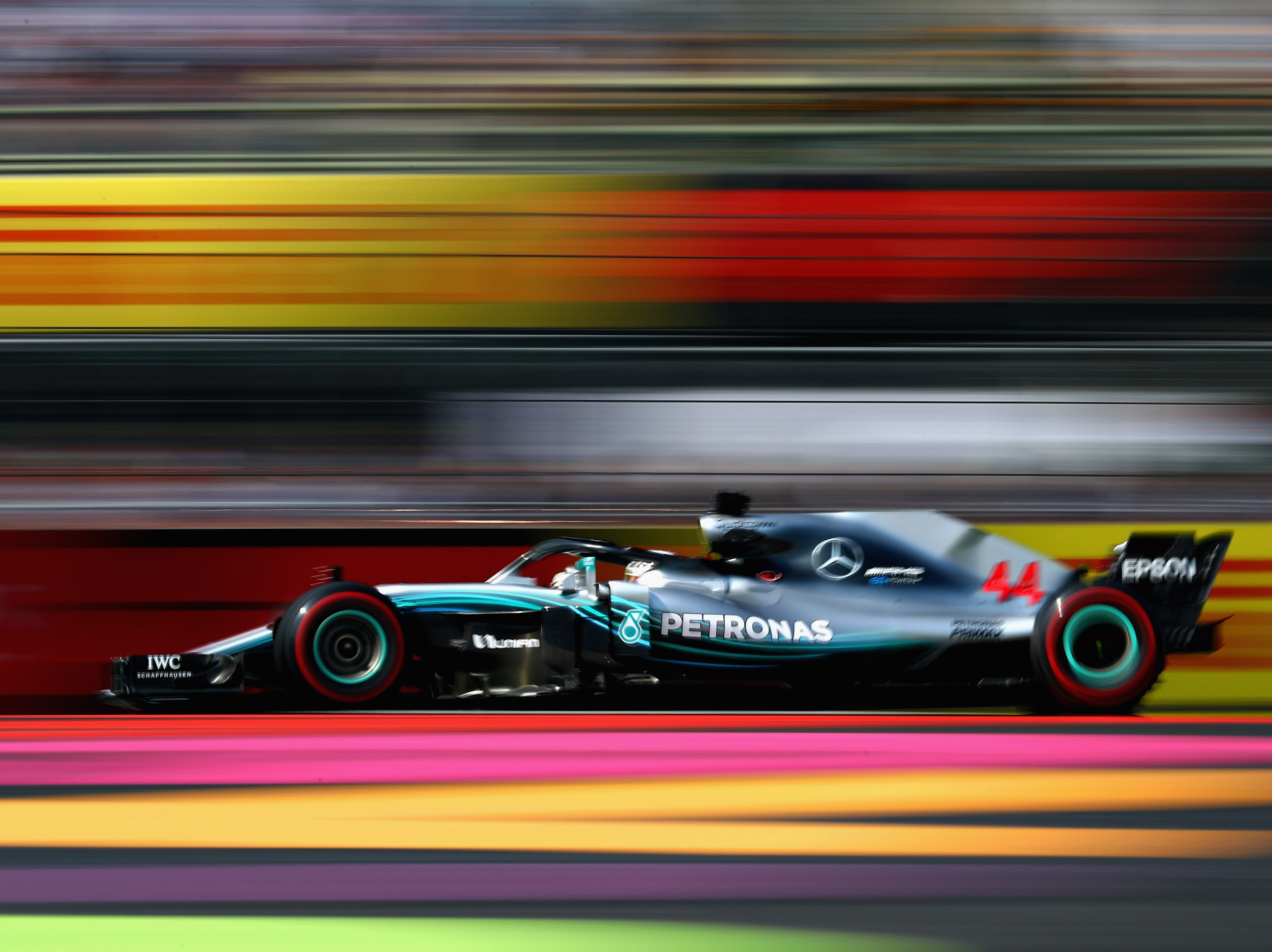 Mercedes team driver Lewis Hamilton of Great Britain practices for the Formula One Grand Prix of Mexico at Autodromo Hermanos Rodriguez on Friday, Oct. 26, 2018 in Mexico City.