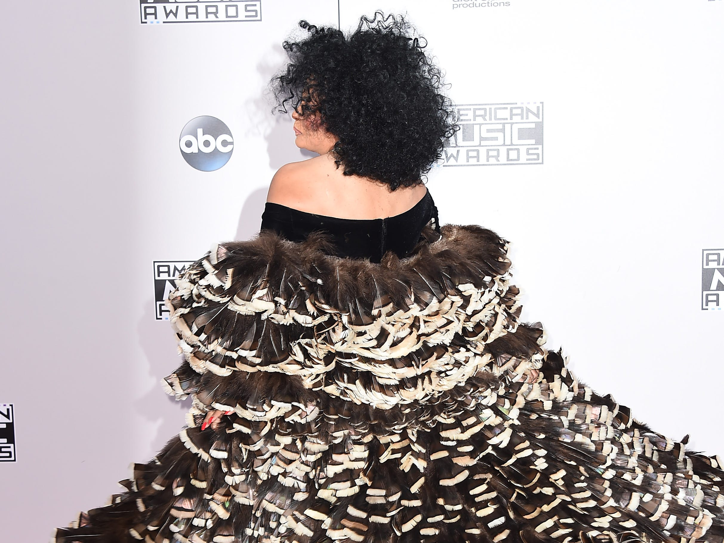 "Diana Ross shows off her tiered ruffled gown at the 42nd annual American Music Awards on Nov. 23, 2014, in Los Angeles. That year, she was given the Ella Fitzgerald Award at the Montreal Jazz Festival for ""her extraordinary contribution to contemporary jazz vocals."""