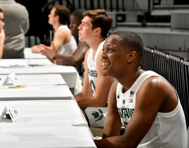 Cassius Winston and other Spartan players meet the media on Thursday.