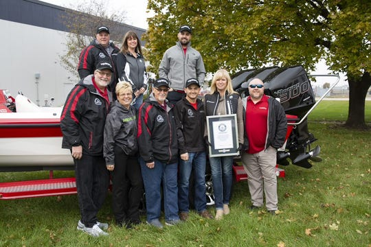 The Rock Aqua Jay water ski team presented Mercury Marine with a plaque during a ceremony in Fond du Lac to thank them for their role in attaining a world record.