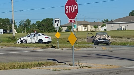 A Cape Coral woman driving the white Toyota Corolla was three blocks from home when an unlicensed juvenile driving a pickup truck ran the stop sign,  Cape Coral police say.