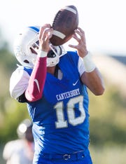 Canterbury School's Konner Barrett, shown here scoring a touchdown last year, has transferred to Gulf Coast.
