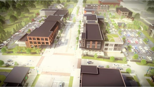 A rendering looking north at Webster Avenue and St. Joseph Street. Allouez hired Somerville Architects & Engineers to develop a village center plan that would focus on revamping the intersection.