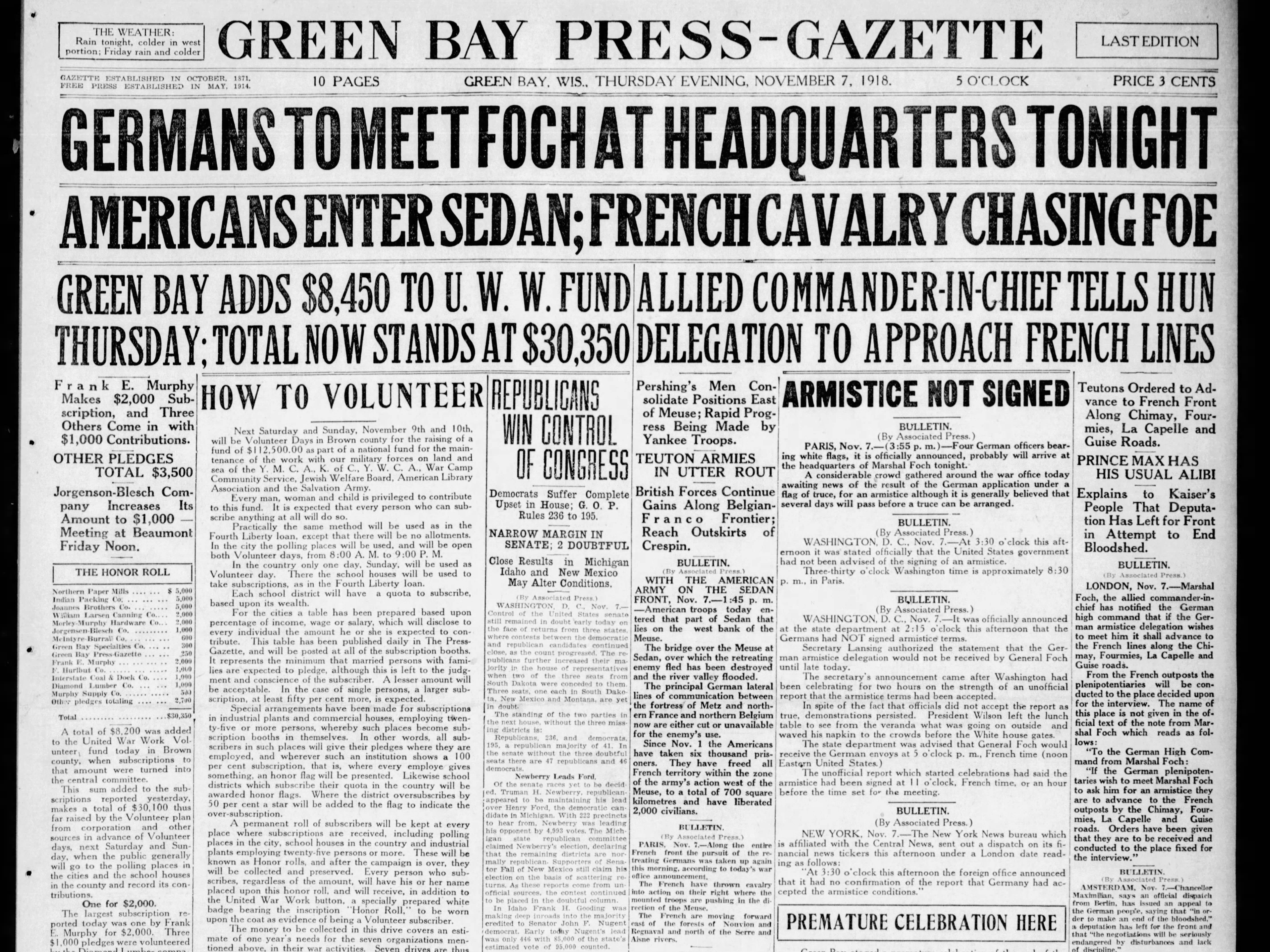 Today in History: Nov. 7, 1918