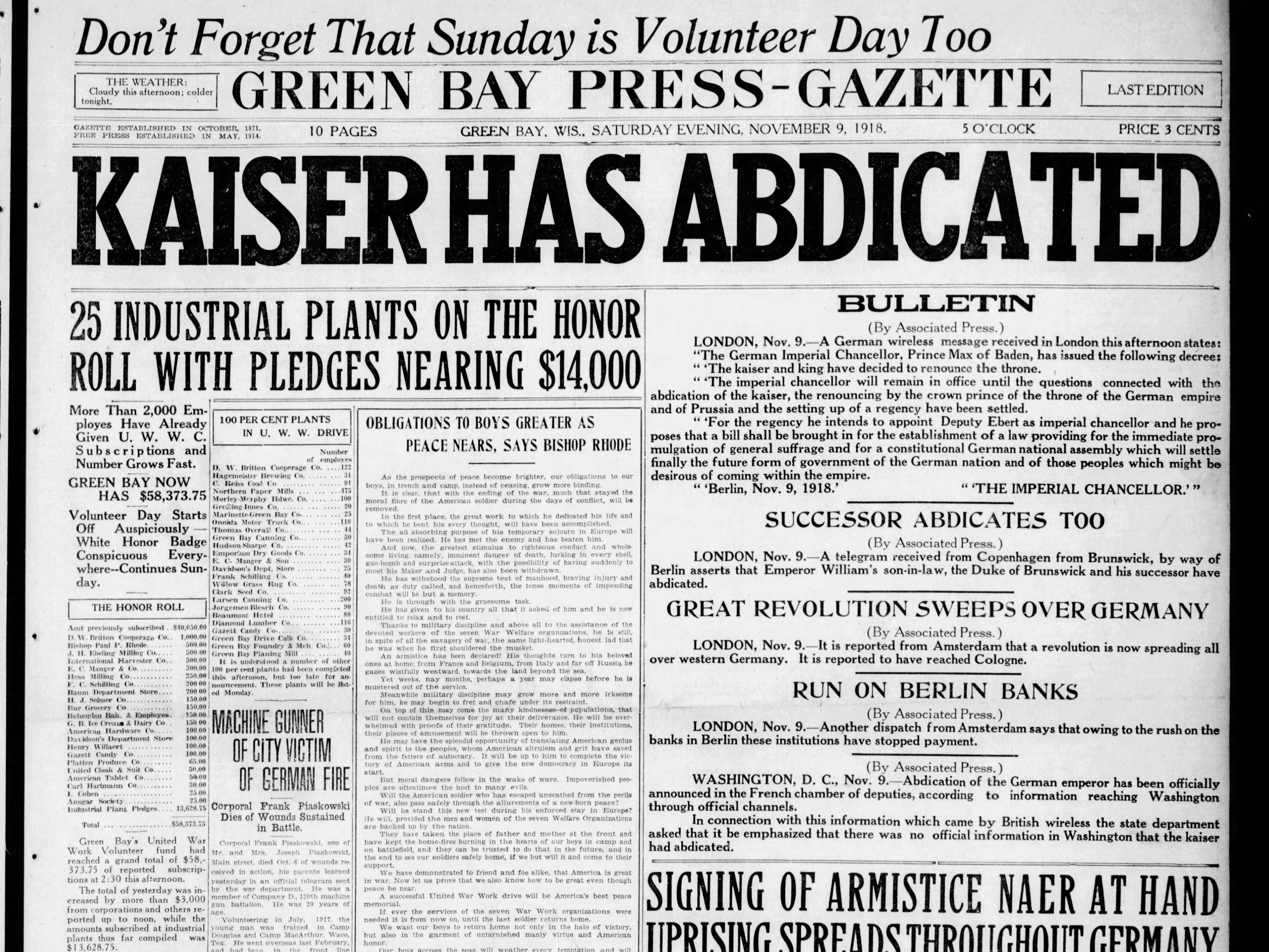 Today in History: Nov. 9, 1918