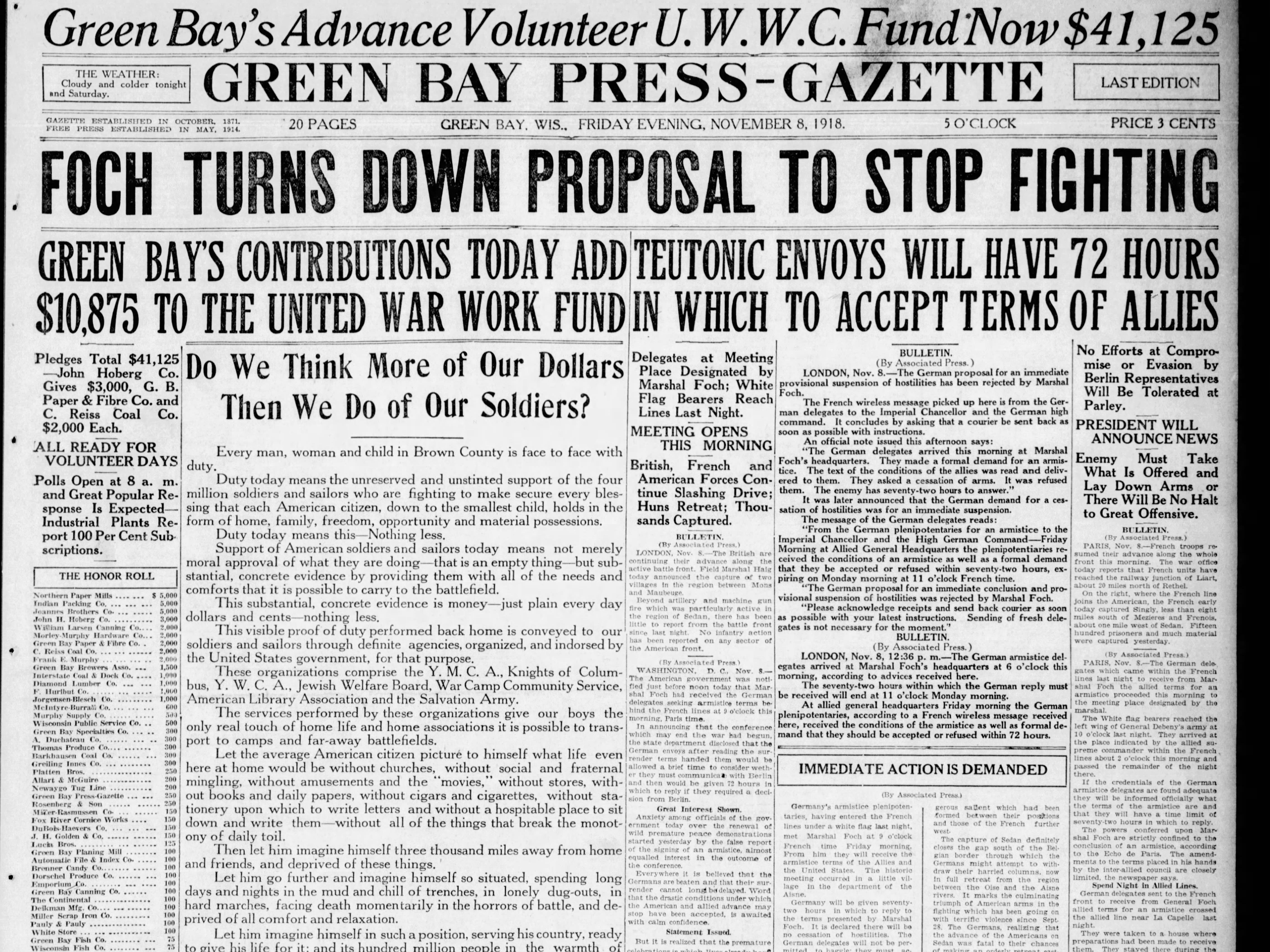Today in History: Nov. 7, 1918