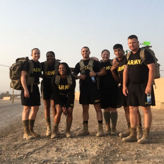 Staff Sgt. Amanda Kelley of Easley with leadership team in Iraq.