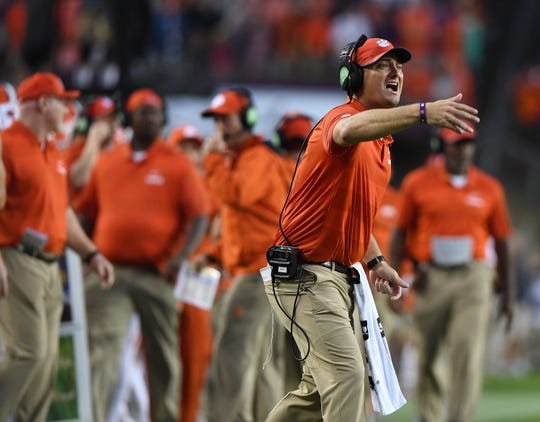 Clemson co-offensive coordinator Jeff Scott coaches against Texas A&M on Sept. 8, 2018.