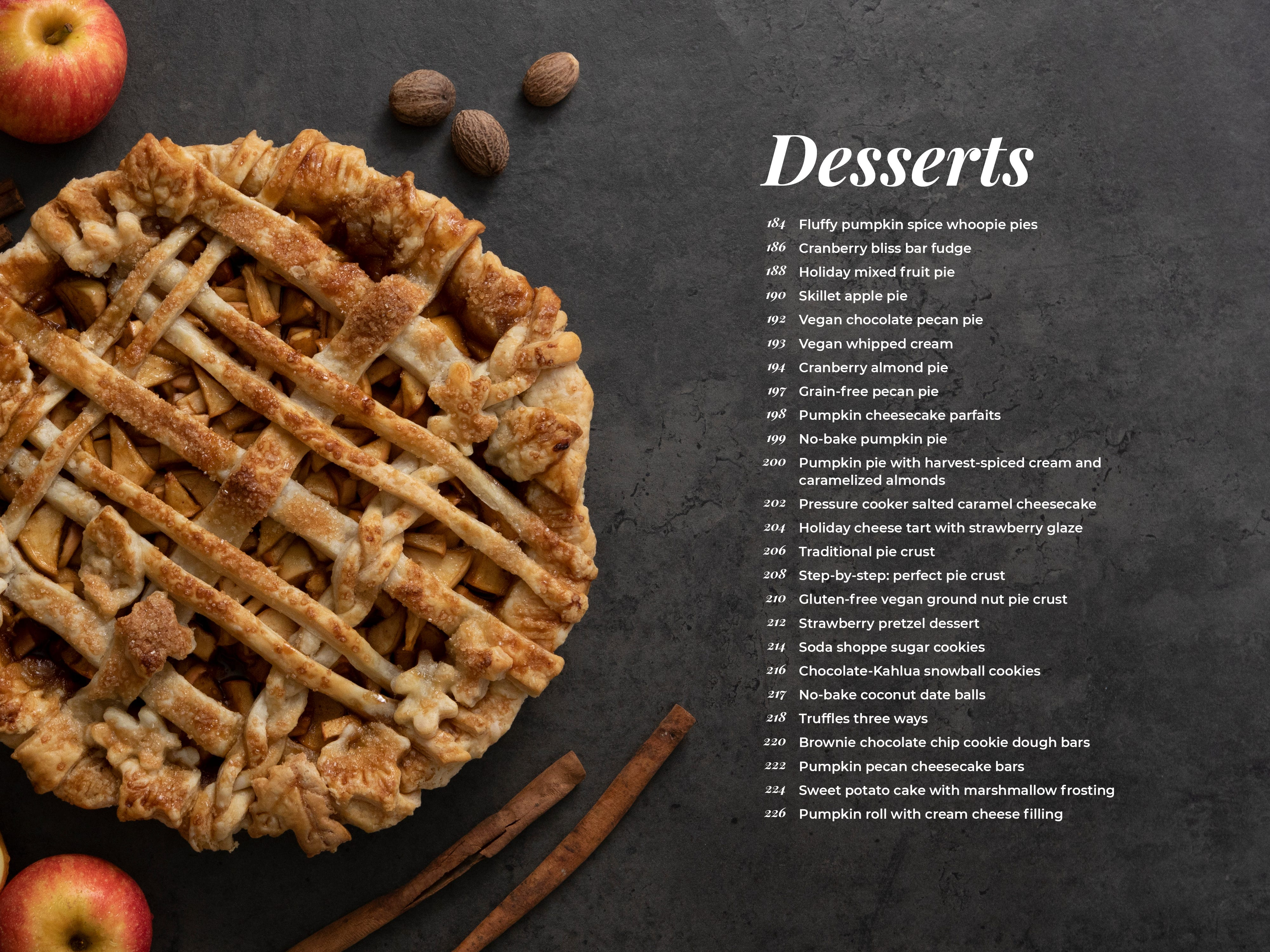 Modern Holiday Cookbook - list of dessert recipes