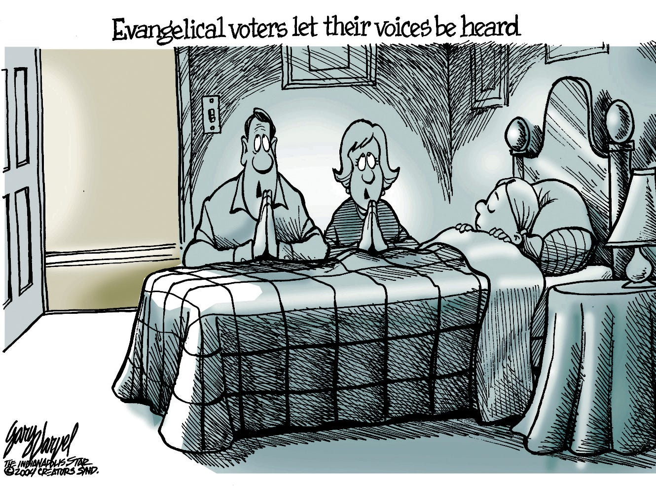 Evangelical voters vote and then pray.