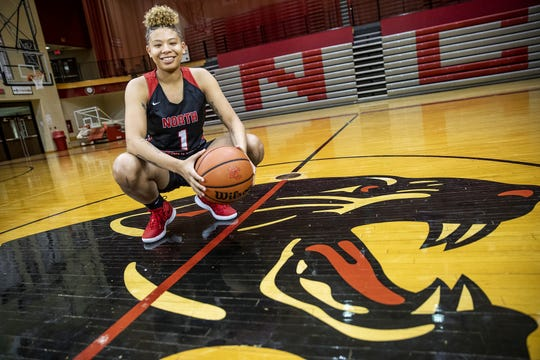 North Central's Rikki Harris, a member of the central Indiana girls basketball Super Team, Tuesday, Oct. 23, 2018.