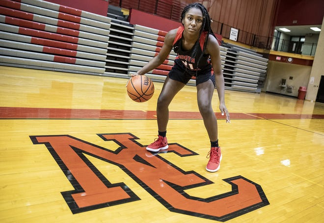 North Central's Jasmine McWilliams, a member of the central Indiana girls basketball Super Team, Tuesday, Oct. 23, 2018.