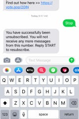 "This recipient of an unwanted political text message replied ""Stop"" and was unsubscribed from the list."