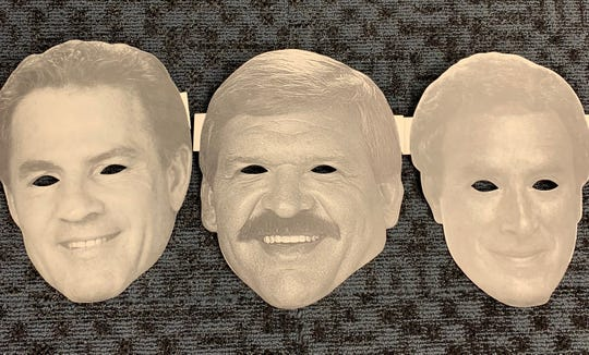 Fans were given masks of Monday Night Football announcers (from left) Frank Gifford, Dan Dierdorf and Al Michaels to wear during the Colts game on Halloween 1988.