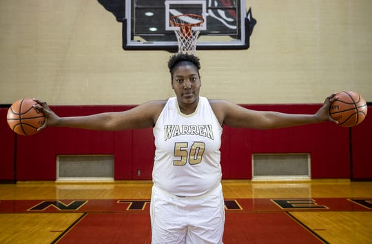 Warren Central's Cydni Dodd, a member of the central Indiana girls basketball Super Team, Tuesday, Oct. 23, 2018.