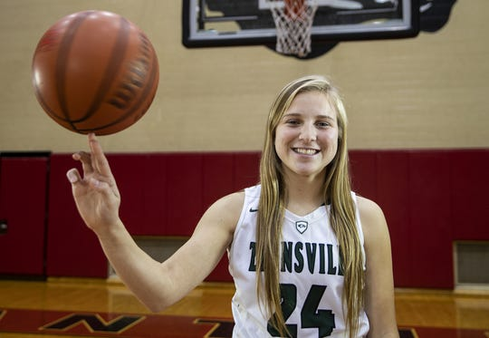 Zionsville's Maddie Nolan, a member of the central Indiana girls basketball Super Team, Tuesday, Oct. 23, 2018.