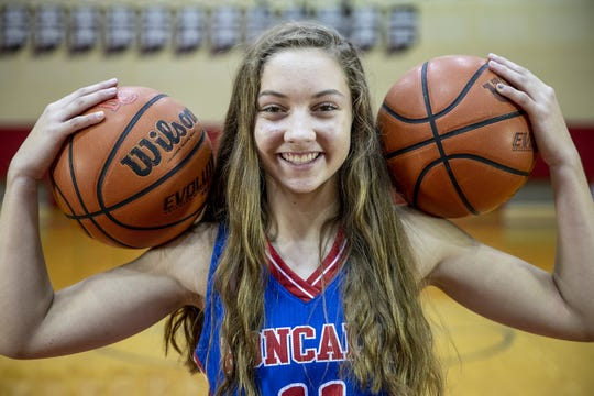 Roncalli's Alana Vinson, a member of the central Indiana girls basketball Super Team, Tuesday, Oct. 23, 2018.
