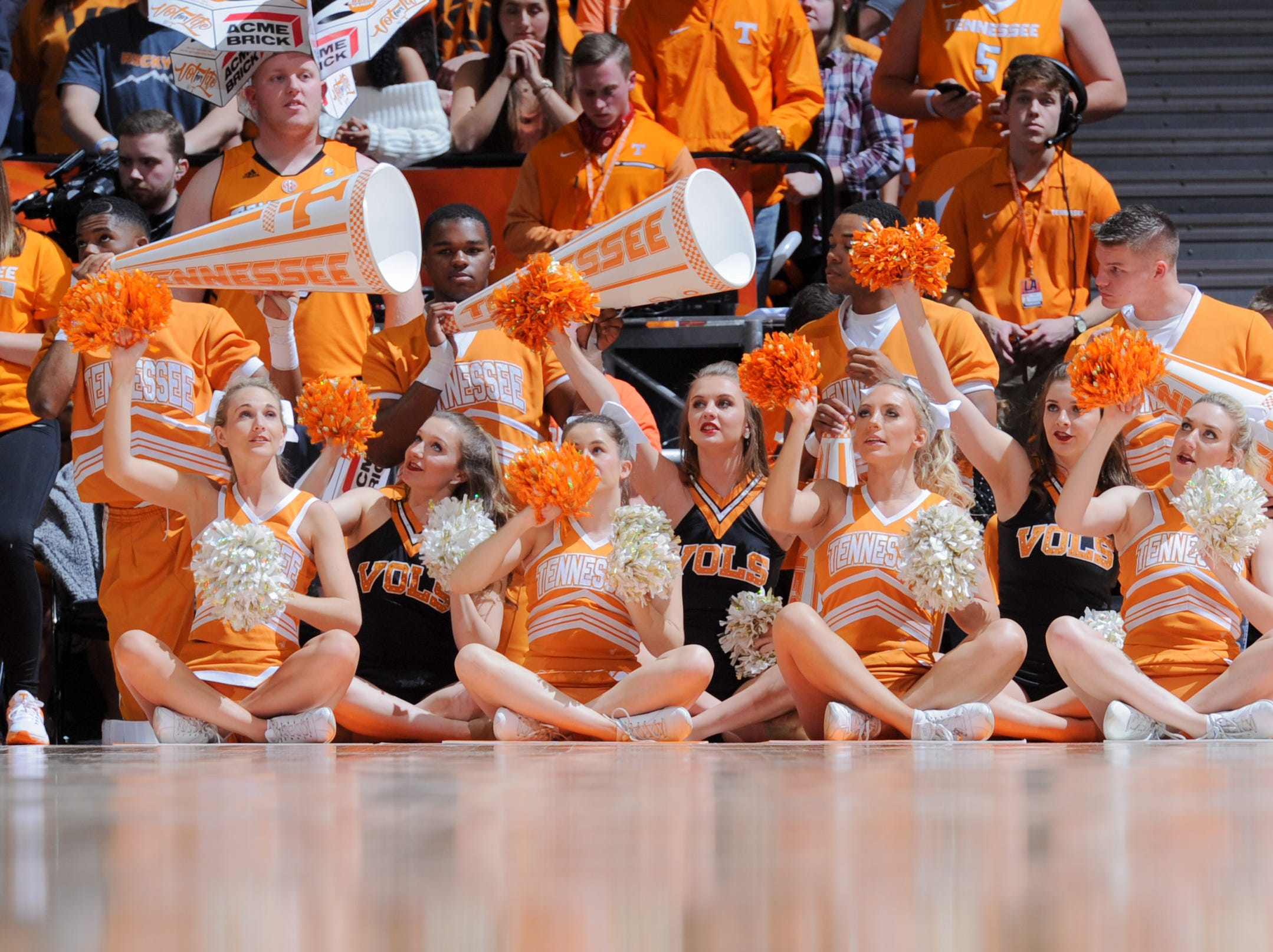 Feb 3, 2018; Knoxville, TN, USA; The Tennessee Volunteers cheerleaders during the second half against the Mississippi Rebels at Thompson-Boling Arena. Tennessee won 94 to 61.