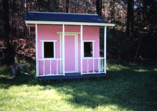 Cortney and Kaycee Roark's playhouse-turned-chicken coop in the early 2000s.